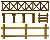 stock photo of log fence  - Illustration of different design of fences - JPG