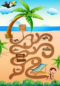 Illustration of a maze game with beach background