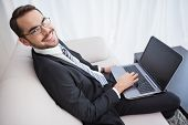 Smiling businessman using laptop on his couch at home in the living room