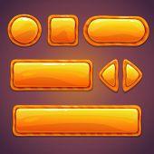 Set of orange cartoon glossy buttons