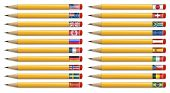 Twenty pencils with flags of the world