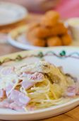 pic of carbonara  - Spaghetti Carbonara with bacon and cheese on dish  - JPG