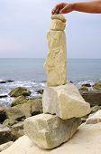 Stone Fancy Shaped Face On Beach