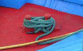 picture of node  - Mooring node closeup on wooden deck of a boat - JPG