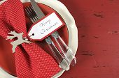 Modern Christmas Table Place Settings In Red And White Theme, On Dark Red Recycled Vintage Distresse
