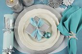 Modern Christmas Table Place Settings In Aqua Blue, Silver And White Theme.