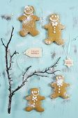Merry Christmas Festive Baking Concept With Gingerbread Cookies On Vintage Style Recycled Wood Backg