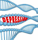 Depression word in 3d letters in a DNA strand to illustrate that the disease or mental illness or disorder may be hereditary or genetic