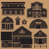 Monochrome buildings set with farm