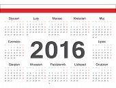 Vector Polish Circle Calendar 2016