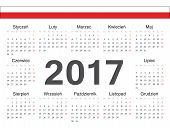 Vector Polish Circle Calendar 2017