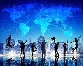 Silhouette People Global Business Cityscape Team Concept