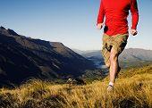 Man jogging in a beautiful mountain scenic.