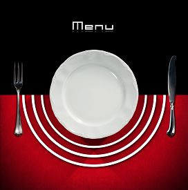 stock photo of semi-circle  - Restaurant menu with empty plate and cutlery fork and knife on a black and red background with white semi - JPG