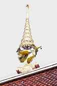 stock photo of apex  - Swan Gable Apex In Thai Temple Isolated - JPG
