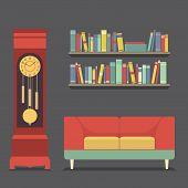 stock photo of pendulum clock  - Living Room Interior Design Vector Illustration - JPG