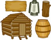 stock photo of log cabin  - Illustration of Different Elements Usually Found in a Log Cabin - JPG