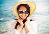 stock photo of beach hat  - travel concept  - JPG