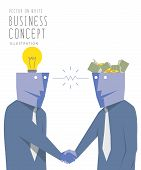 foto of bartering  - Illustration vector two businessmen exchange money with idea and handshake - JPG