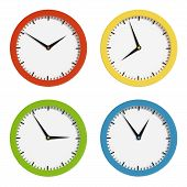 image of analogy  - Set of analog multicolored clocks - JPG