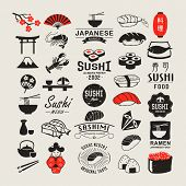 stock photo of fish icon  - Vector Sushi logotypes set - JPG