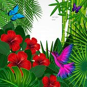 image of tropical birds  - Tropical floral design background with bird - JPG