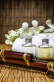 stock photo of massage oil  - Closeup of spa and massage oil on tray - JPG