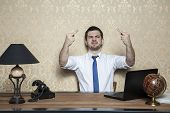picture of rude  - ugly behavior of business man in the office - JPG