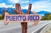 picture of greater antilles  - Puerto Rico wooden sign with road background - JPG