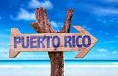 image of greater antilles  - Puerto Rico wooden sign with beach background - JPG