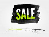 picture of half  - vector Half price sale watercolor banner with splashes of ink - JPG