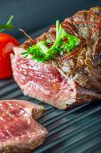 picture of porterhouse steak  - Grilled Beef steak with vegetable decoration - JPG