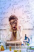 foto of experiments  - A boy doing experiments in the laboratory - JPG