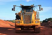 picture of dump_truck  - dump truck on a road construction site - JPG