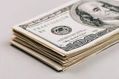image of 100 dollars dollar bill american paper money cash stack  - Money in dollars closeup - JPG