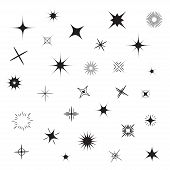 stock photo of glitter sparkle  - Stars Sparkles black symbol set Vector illustration - JPG