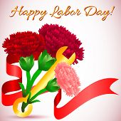 stock photo of labor  - Postcard for holiday of Spring and Labor - JPG