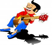 foto of guitarists  - cheerful guitarist sings a love song vector and illustration - JPG