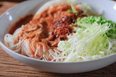 foto of thai food  - Thai rice vermicelli served with curry it is local Thai food - JPG