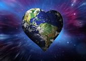 picture of outer  - Heart shaped earth against outer space - JPG