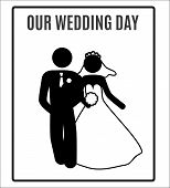 foto of married  - vector Wedding Bride groom just Married Marry Marriage Icon Symbol Sign Pictogram - JPG