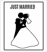 stock photo of married  - vector Wedding Bride groom just Married Marry Marriage Icon Symbol Sign Pictogram - JPG