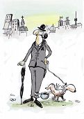 image of peeing  - English gentlemen and his dog is peeing in a pot on the street - JPG