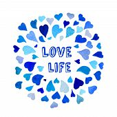 image of slogan  - Positive motivation slogan in frame made of watercolor hearts - JPG