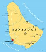 Постер, плакат: Barbados Political Map