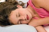 picture of little angel  - Horizontal shot of sweet little girl sleeping like a little angel - JPG