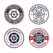 foto of steers  - Set of vintage style sea and summer nautical signs badges and labels - JPG