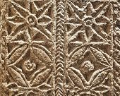 image of pilaster  - Marble carved with geometrical drawings from visogoth pilaster - JPG