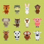 picture of wild-rabbit  - Funny cartoon characters of wild and pet animals on green background - JPG