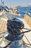 picture of yachts  - yacht winch on the deck of a sailing yacht - JPG
